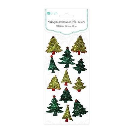 Brokátové 3D samolepky – vánoční stromeček, 12 ks