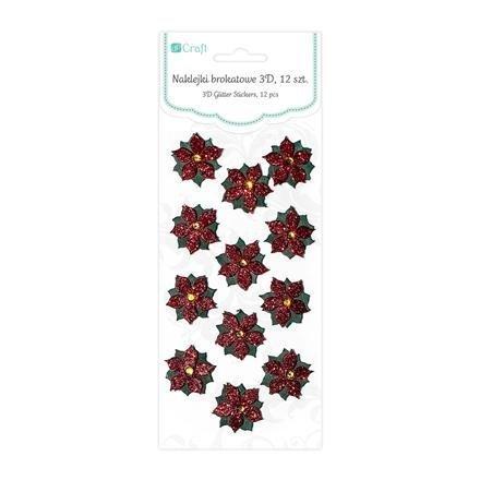 Brokátové 3D samolepky – vánoční hvězda, 18 ks