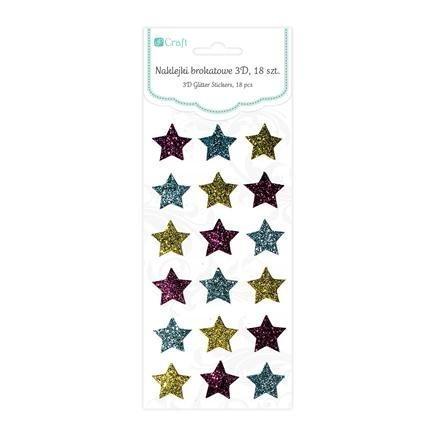 Brokátové 3D samolepky – hvězdy, 18 ks, pestré