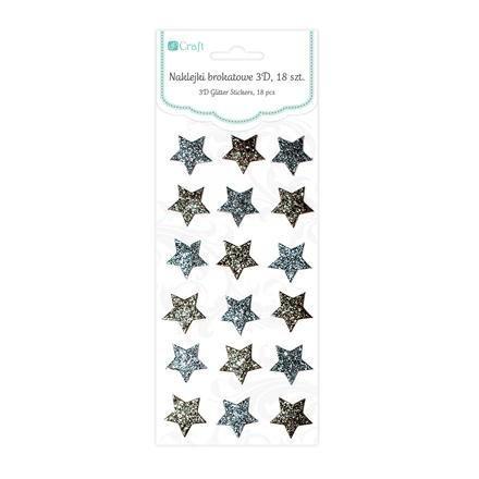 Brokátové 3D samolepky – hvězdy, 18 ks