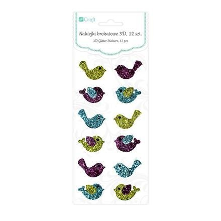 Brokátové 3D samolepky – ptáčci, 12 ks