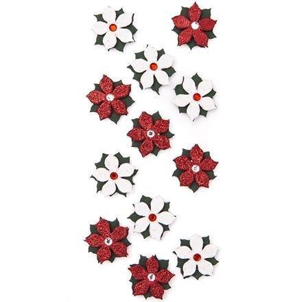 Brokátové 3D samolepky – Vánoční hvězda, 12 ks