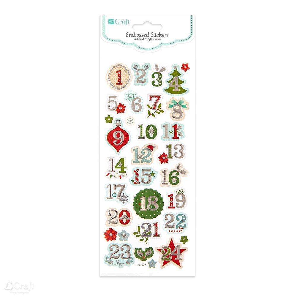 Embosované samolepky, adventní kalendář, 32 ks