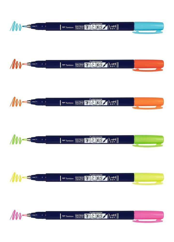 Fudenosuke BRUSH PEN – WS-BH – tvrdost 1, sada 6 neonových barev