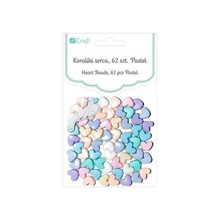 Korálky pastelové – srdce, 62 ks