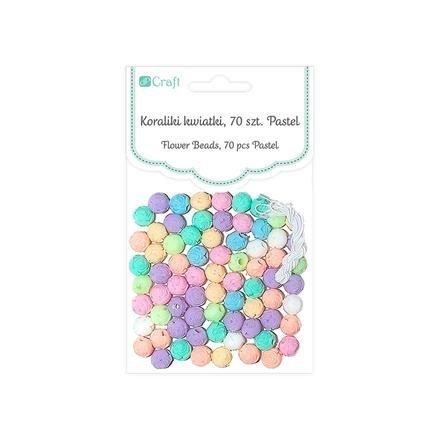 Korálky pastelové – květy, 70 ks