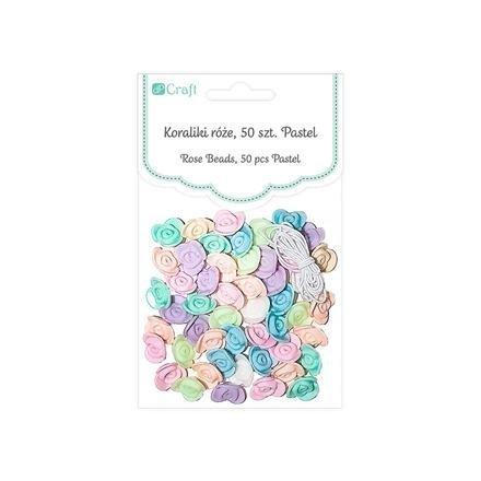 Korálky pastelové – růže, 50 ks