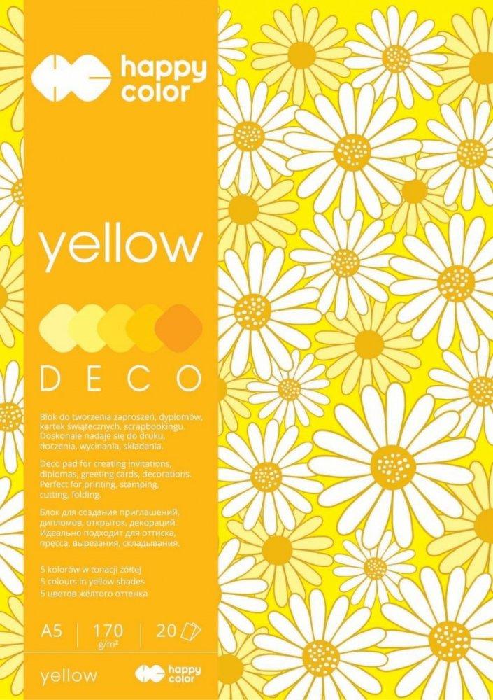 Blok Deco Yellow A5, 170g, 20 listů, 5 barev – žluté odstíny