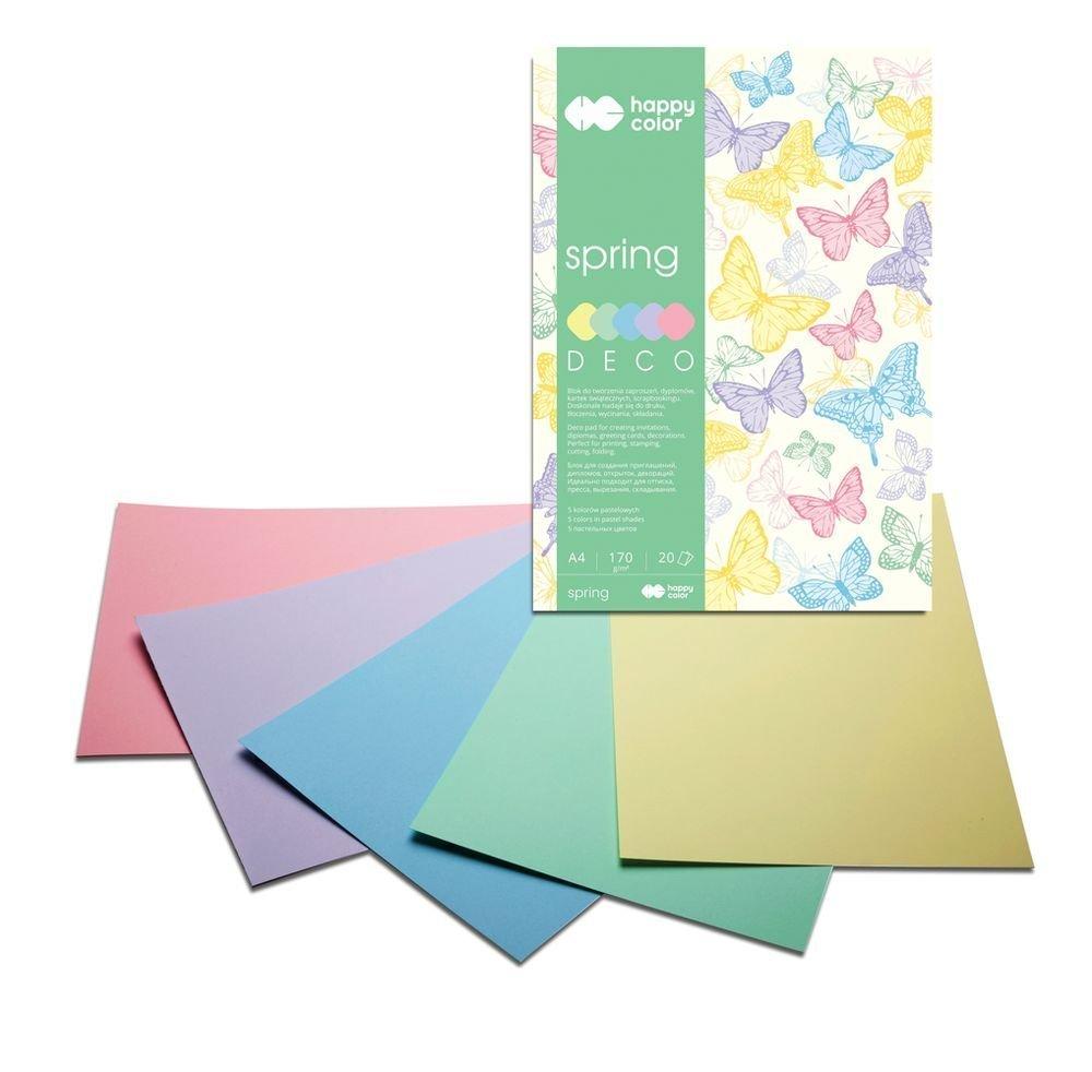 Blok Deco Spring A4, 170g, 20 listů, 5 barev