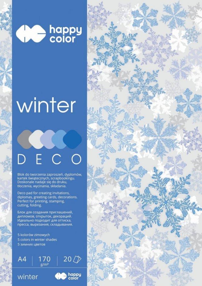 Blok Deco Winter 170 g/m2, A4, 20 listů, 5 barev