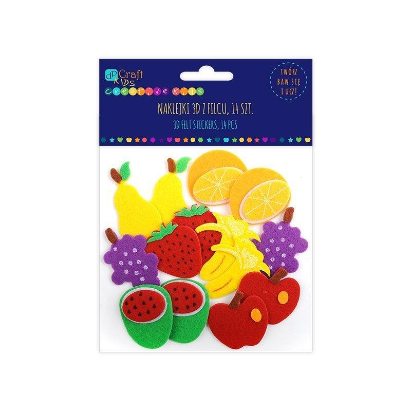 Filcové 3D samolepky - ovoce, 14 ks