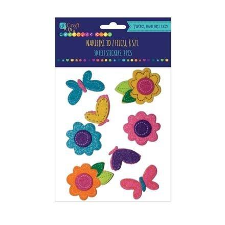 Filcové 3D samolepky – květy a motýli, 8 ks