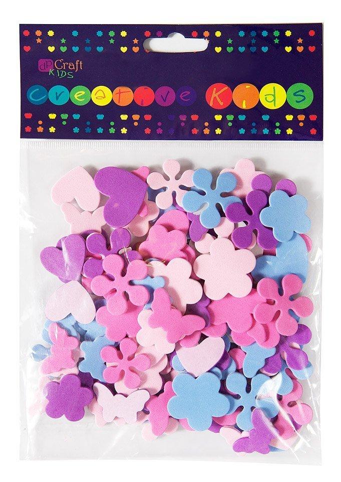 Pěnové samolepky – srdce, květy, motýli 100ks