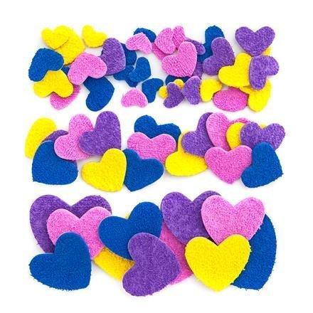 Pěnové samolepky plyšové - srdce, 68 ks