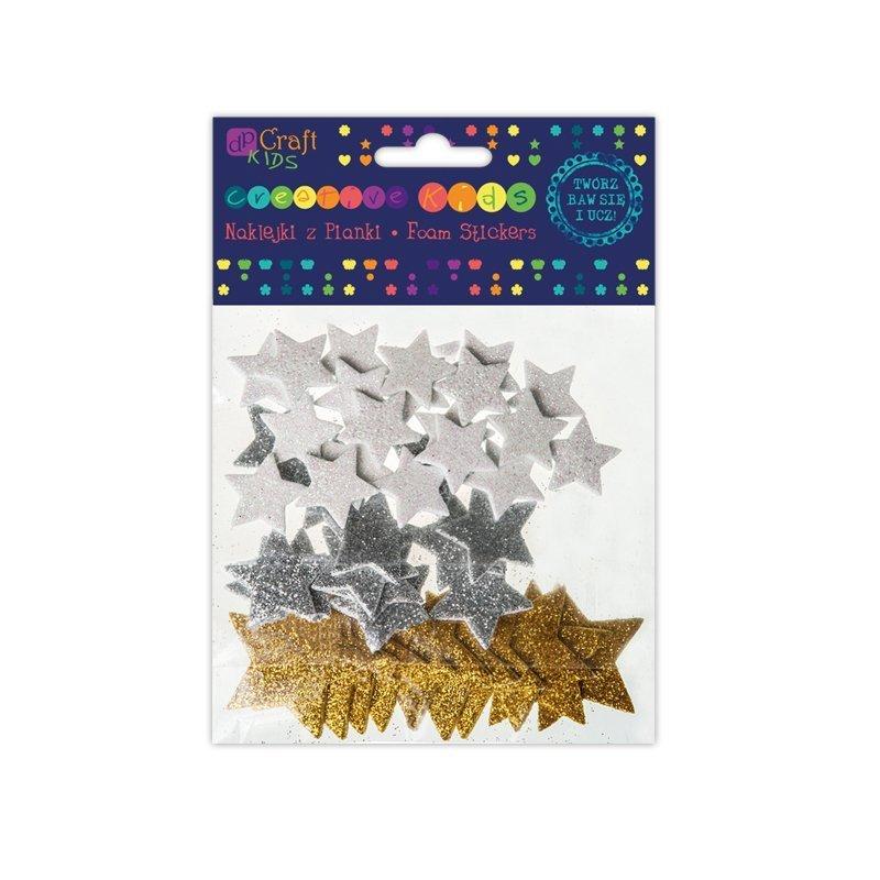 Třpytivé pěnové samolepky – hvězdy 45ks