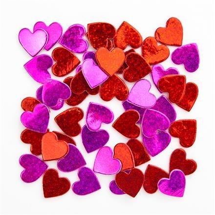 Pěnové samolepky - holografická srdce, 60 ks