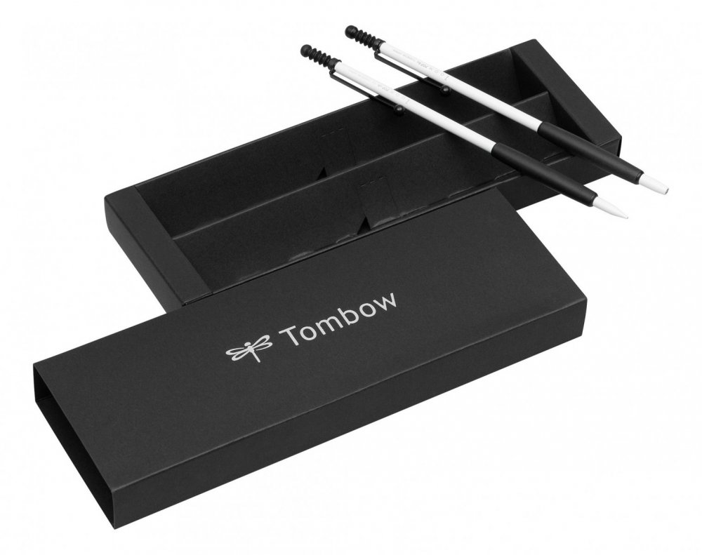 Tombow Sada ZOOM 707 kuličkové pero + mikrotužka, bílá/černá