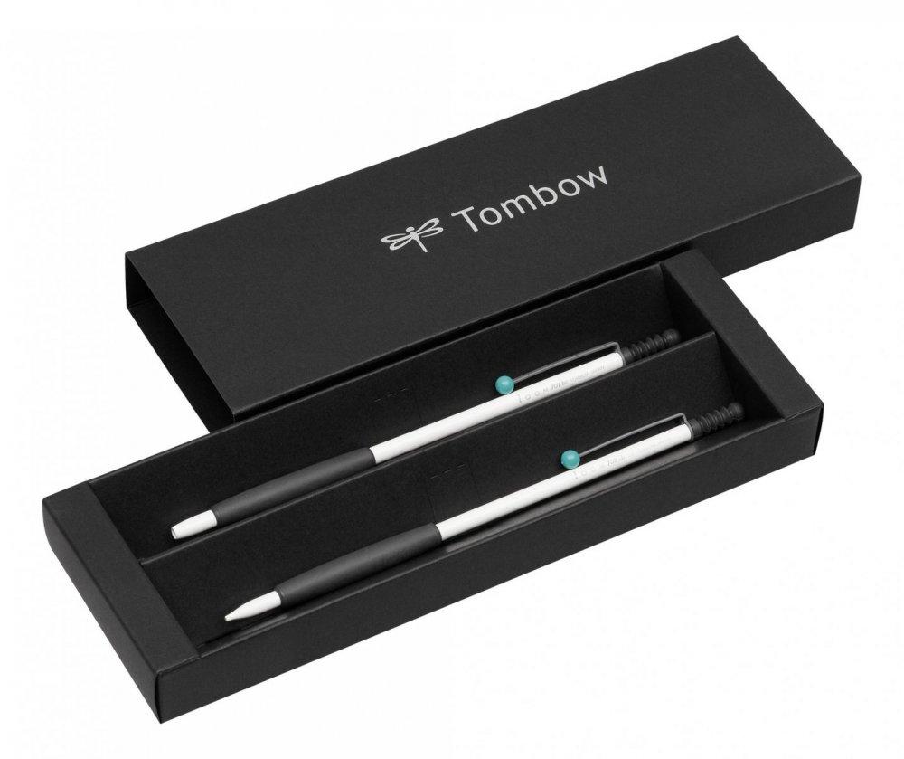 Tombow Sada ZOOM 707 kuličkové pero + mikrotužka, bílá/šedá/tyrkysová