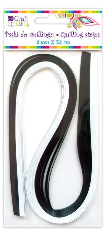 Pásky na quilling 3mm, 100ks, černo-bílé