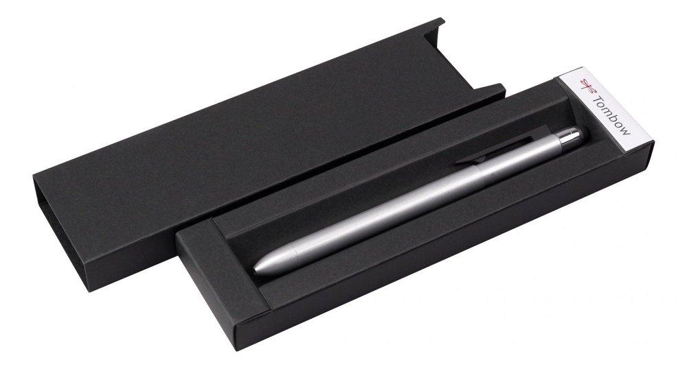 Multifunkční pero ZOOM L104, 5v1: černé & červené kulličkové pero, 0.5 mm mikrotužka, guma + touch pen, stříbrná