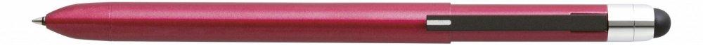 Multifunkční pero ZOOM L104, 5v1: černé & červené kulličkové pero, 0.5 mm mikrotužka, guma + touch pen, červená