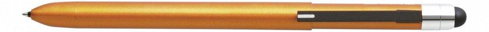 Multifunkční pero ZOOM L104, 5v1: černé & červené kulličkové pero, 0.5 mm mikrotužka, guma + touch pen, oranžová
