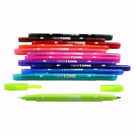 Popisovač TwinTone, 12 ks, zářivé barvy