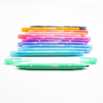 Popisovač TwinTone, 12 ks, pastelové barvy