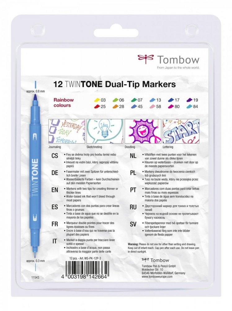 Popisovač TwinTone, 12 ks, barvy duhy