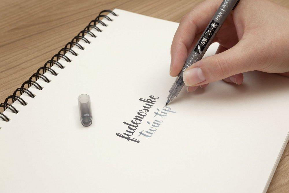 Oboustranný Fudenosuke Brush Pen černý a šedý