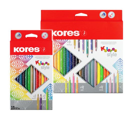 Kolores STYLE trojhranné pastelky, 3 mm / 15 barev