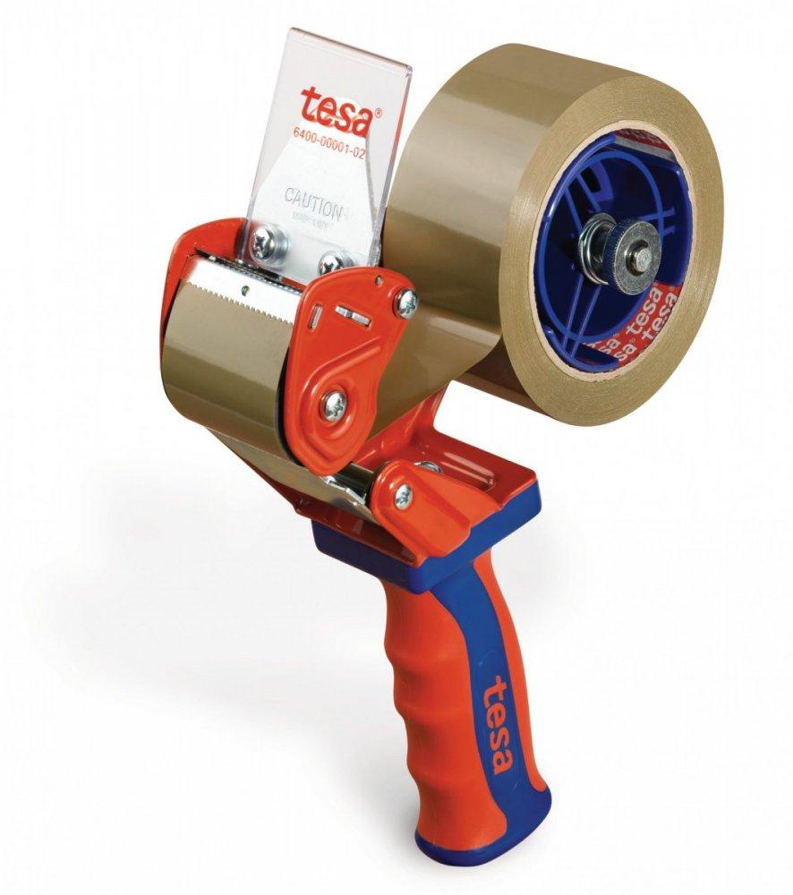 Ruční odvíječ balící pásky COMFORT, červeno modrý, pro rozměr 66m x 50mm