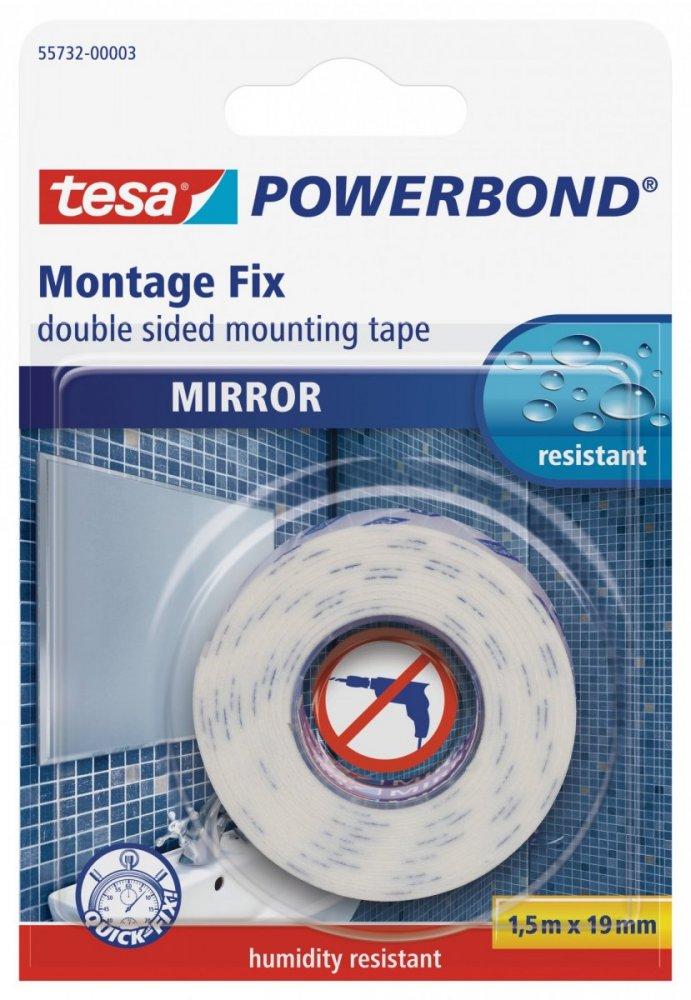 Montážní oboustranná pěnová páska na zrcadla, bílá, 1,5m x 19mm