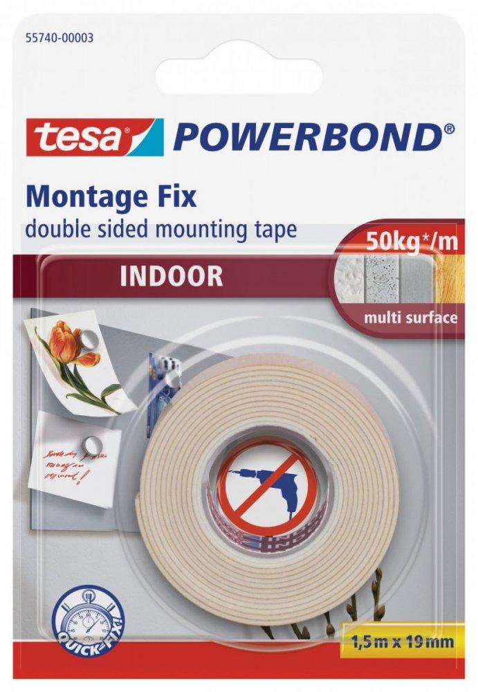 Montážní oboustranná pěnová páska pro interiér, bílá, 1,5m x 19mm