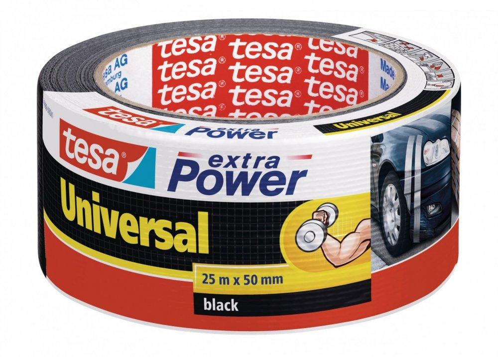 Opravná páska Extra Power Universal, textilní, silně lepivá, černá, 25m x 55mm