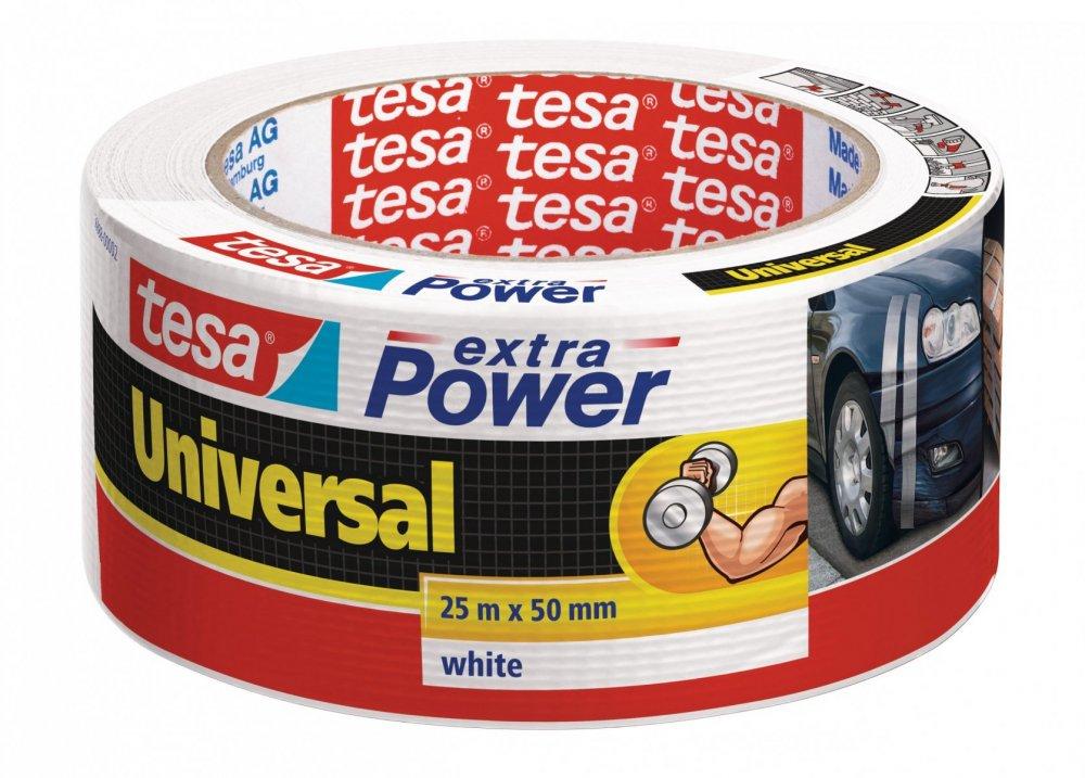 Opravná páska Extra Power Universal, textilní, silně lepivá, bílá, 25m x 55mm