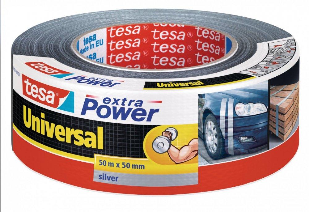 Opravná páska Extra Power Universal, textilní, silně lepivá, stříbrná, 50m x 55mm