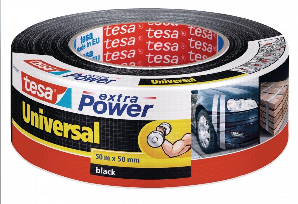 Opravná páska Extra Power Universal, textilní, silně lepivá, černá, 50m x 55mm