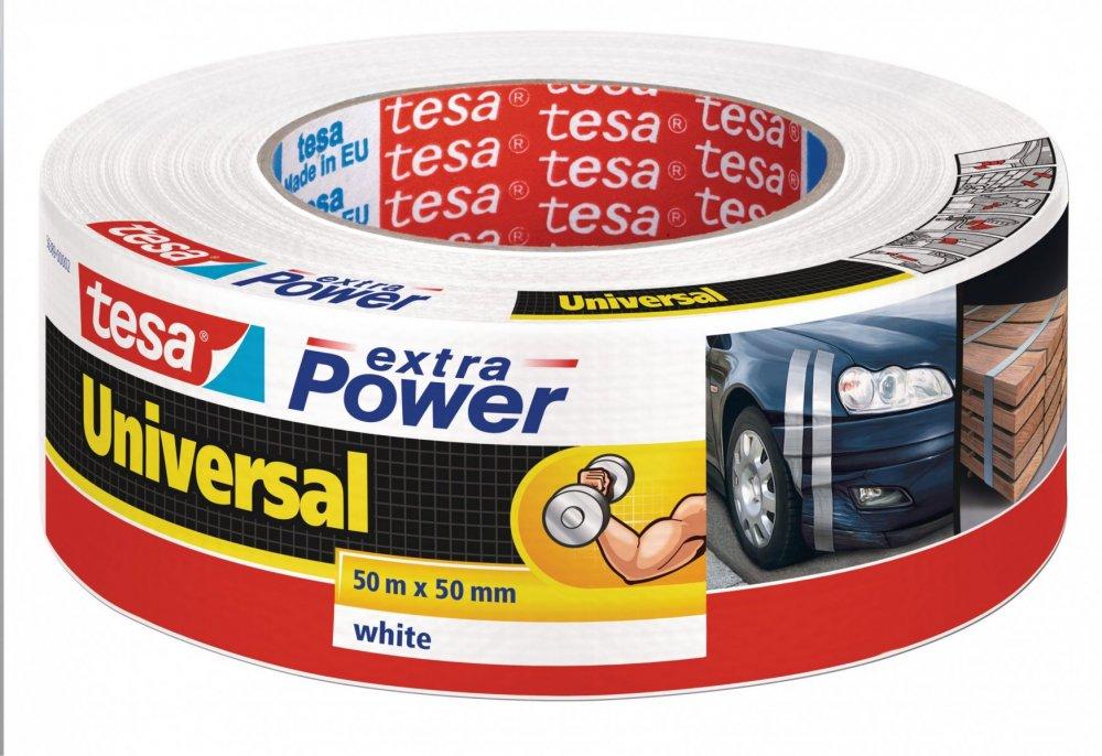 Opravná páska Extra Power Universal, textilní, silně lepivá, bílá, 50m x 55mm