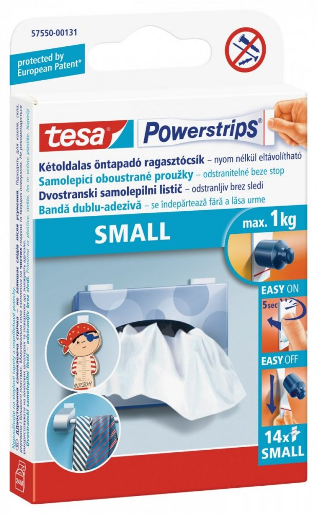 Small, malé oboustranné proužky na připevňování, bílé, nosnost 1kg, balení 14ks