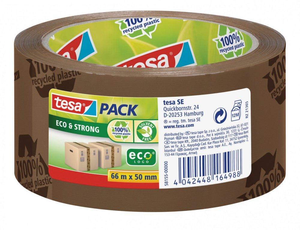 Balicí ekologická páska ECO&STRONG s potiskem, odolná, silně lepivá, hnědá, 66m x 50mm
