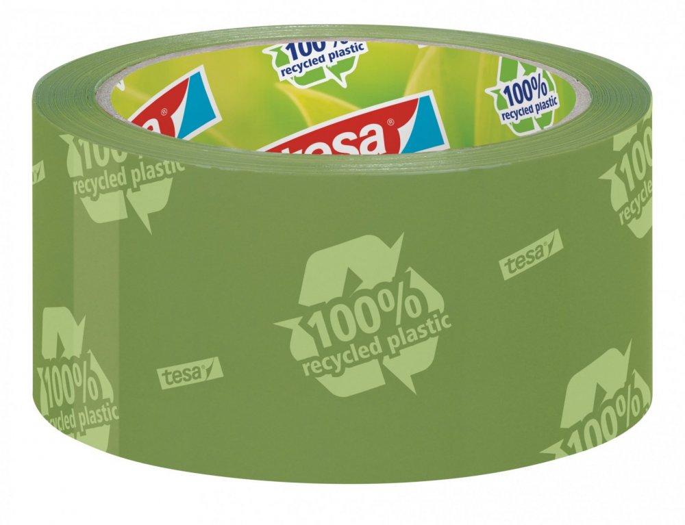 Balicí ekologická páska ECO&STRONG s potiskem, odolná, silně lepivá, zelená, 66m x 50mm
