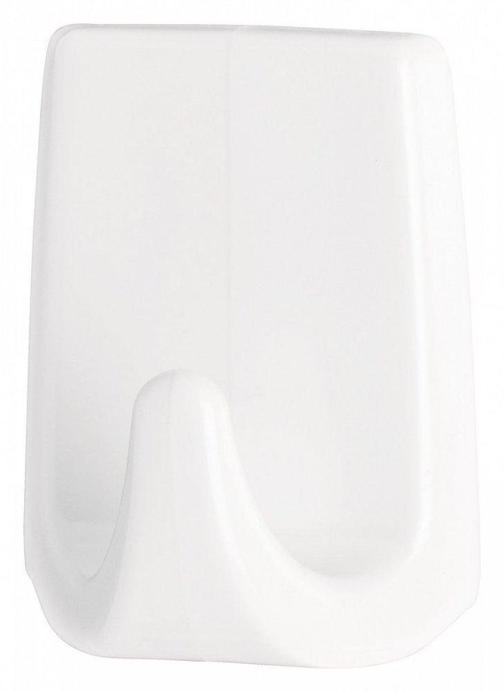 Permanent Háčky, obdélníkové háčky malé S, bílý plast, pro lehké předměty, v balení 3ks