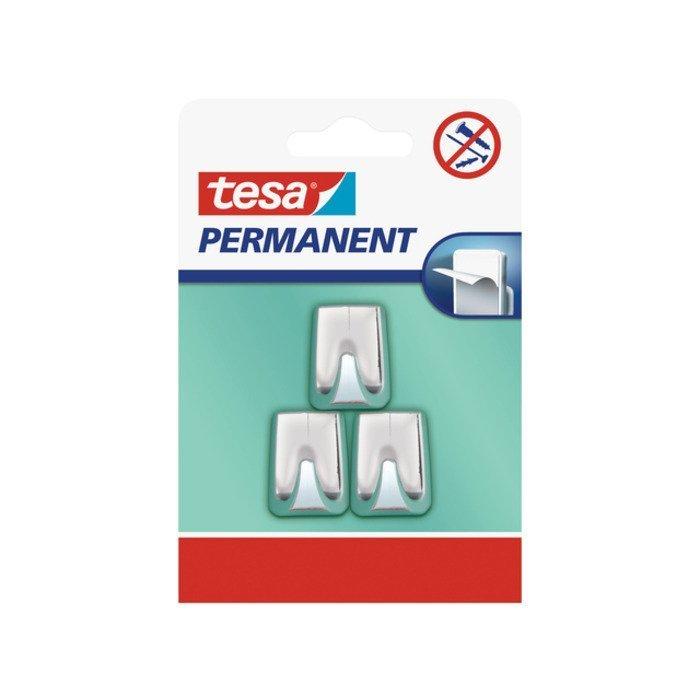Permanent Háčky, obdélníkové háčky malé S, lesklý pochromovaný plast, pro lehké předměty, v balení 3ks