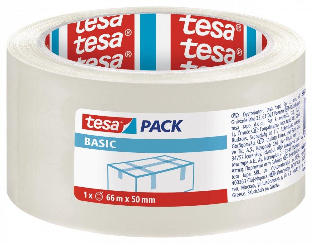 Balicí páska BASIC, základní, transparentní, 66m x 50mm