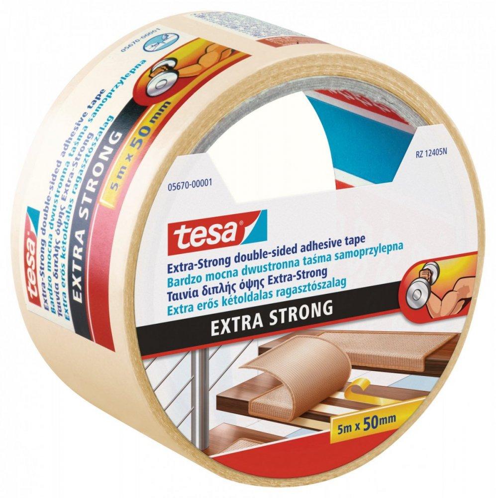 Oboustranná kobercová páska, extra silně lepící, bílá, 5m x 50mm