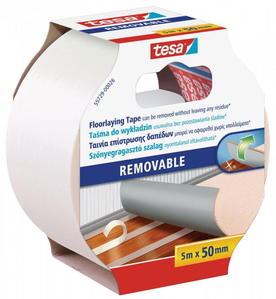 Oboustranná kobercová páska, odstranitelná s výztuhou, bílá, 5m x 50mm