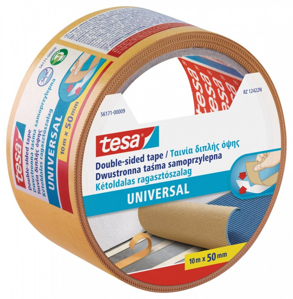 Oboustranná kobercová páska Standard, bílá, 10m x 50mm