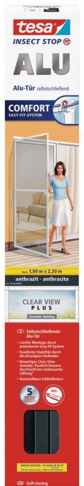 Hliníkový rám se sítí proti hmyzu, do dveří, antracitový rám, antracitová síť, 1m x 2,2m