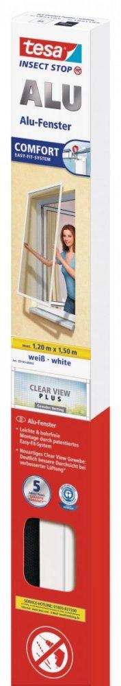 Hliníkový rám se sítí proti hmyzu, do okna, bílý rám, antracitová síť, 1,2m x 1,5m